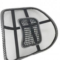 Suport lombar pentru scaun auto si de birou, bilute masaj, fixare benzi elastice
