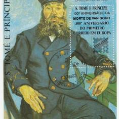 Sao Tome 1990 - 100th Van Gogh, colita stampilata