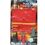 Costum de pompier cu accesorii pe blister