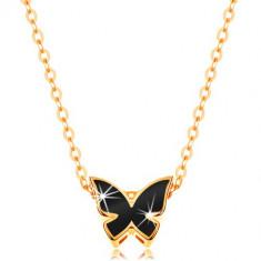 Colier din aur de 14K - lanţ lucios, fluture decorat cu email negru