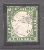 Italy Sardinia 1855 Definitives, King Viktor Emanuel II, 5c emerald, used AM.098, Stampilat
