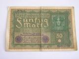 MDBS - BANCNOTA FOARTE VECHE - GERMANIA - 50 MARCI - 1919