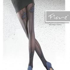 Ciorap rafinat, de nuanta neagra, cu imprimeu floral albastru