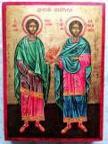 Icoana cu Sf. Doctori fără de arginți Cosma si Damian - model bizantin - pictata