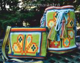Cumpara ieftin Set genti crosetate ornamentate cu motivul popular din Crisana soare fitoform