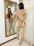 Cumpara ieftin Trening dama crem din catifea cu fermoar vertical pe spate