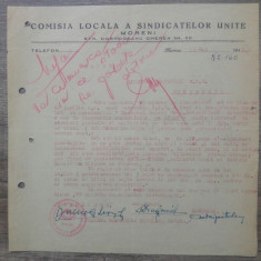 Document Comisia Locala a Sindicatelor Unite Moreni/ 1948