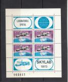 ROMANIA 1974  LP 867 a  SKYLAB   BLOC DE 4 MARCI SI 4 VINIETE DIFERITE  MNH