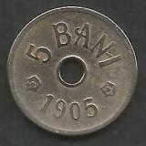 ROMANIA  5  BANI 1905  [6]  VF ,  livrare  in cartonas, Cupru-Nichel