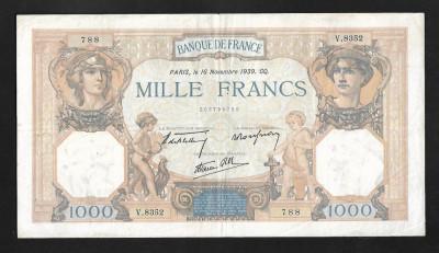 Franta 1000 francs 1939 foto