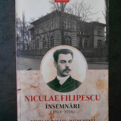 NICOLAE POLIZU MICSUNESTI - NICULAE FILIPESCU. INSEMNARI 1914-1916  (2017)