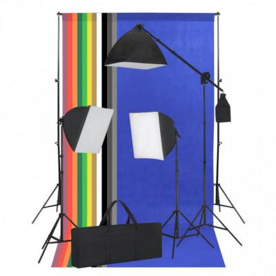 Kit studio foto cu lumini softbox și fundaluri foto
