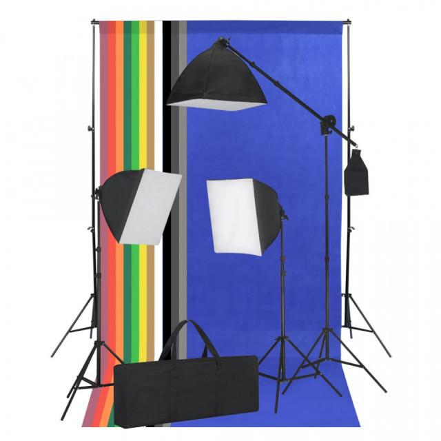 Kit studio foto cu lumini softbox și fundaluri