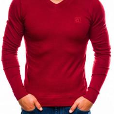 Bluza pentru barbati din bumbac rosu casual slim fit E74