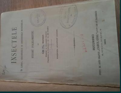 Carte veche  - Insectele, autor Sim Fl Marian, an 1903 foto