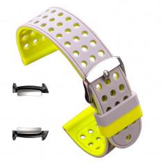 Curea silicon cu doua fete, adaptoare compatibile Samsung Gear Fit 2, Verde/Gri