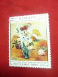 Serie 1val.1970- Monaco - Pictura- Flori - Trandafiri si Anemone