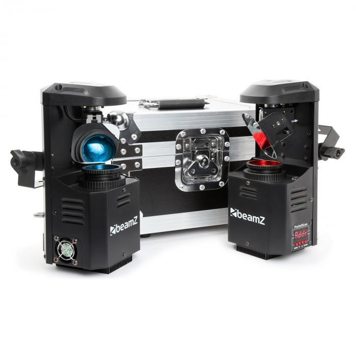 Beamz 3-în-1 PocketScan LED Set de 2 scanere & FlightCase 12W Cree-LED 7-culori