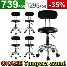 5x Scaun Salon, Taburet Negru cu Spatar, Dotari Salon Cosmetica, Coafor