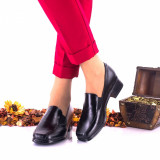 Pantofi dama casual negri din piele naturala, foarte comozi, toc 3cm - NA44NP, 35 - 41, Negru