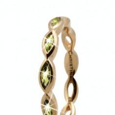 Inel Eternity Peridot, Argint 925 placat cu aur galben 18K, Masura 49