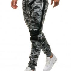 Pantaloni joggers sportivi pentru bărbat camuflaj-gri Bolf QN269