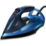 Fier de calcat Azur Advanced GC4932/20, 2600 W, talpa SteamGlide Plus, tehnologie OptimalTEMP, curatare automata, negru/albastru