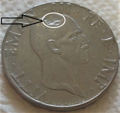 Moneda eroare severa 50 Centesimi - ITALIA FASCISTA, anul 1940 *cod 318 foto