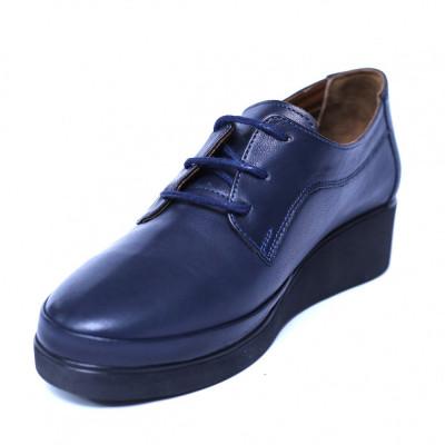 Pantofi dama din piele naturala, Jaqueline, Anna Viotti, Albastru, 40 EU foto