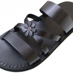 Sandale Dama din Piele Naturala Flower Black x, 35 - 40, Negru