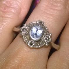 SUPERB! inel argint 925 antic cu topaz si marcasite  naturale!!