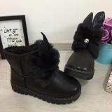 Cumpara ieftin Cizme negre imblanite ugg cu urechi pt fete copii 31 32 34 35