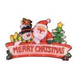 Decoratiune fereastra Merry Christmas, 20 becuri albe, 230V, 24 cm, Home