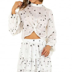 Bluza moderna, alba, cu stelute imprimate, L/XL, S/M, Alb