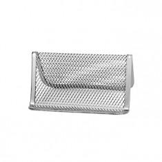 Suport pentru carti de vizita metalic mesh Forpus 30558 silver