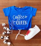 Tricou dama ieftin din bumbac albastru cu imprimeu Coffee Queen