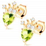 Cumpara ieftin Cercei din aur 585 - olivină verde sub formă de inimă, coroană strălucitoare
