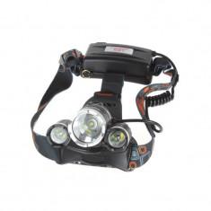 Lanterna frontala, Aluminiu, Led 3 x CREE-XM-L T6 ,3000 Lumeni - ElectroAZ