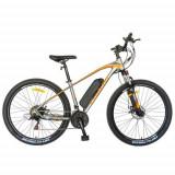 Bicicleta Electrica Mountain Bike CARPAT C1009E, Roti 27.5inch, Motor 250W, autonomie 60km, 21 viteze (Gri/Portocaliu)
