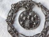 Set MASIV argint MEDALION cu BLAZON REGAL NOBILIAR rar VECHI exceptional pe Lant