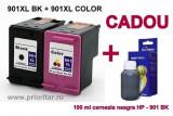 PACHET Cartus negru HP 901XL + Cartus color HP 901XL tricolor HP901-XL...