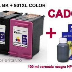 PACHET Cartus negru HP 901XL + Cartus color HP 901XL tricolor HP901-XL...