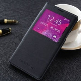 Husa Toc Flip Cover S-View Samsung Galaxy Note 4 LOGO si CHIP