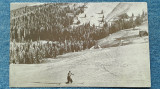 487 - Muntele Mic / peisaj de iarna cu schior, schi - vedere carte postala, Necirculata, Fotografie