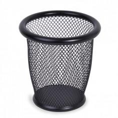 Suport rotund din metal pentru pixuri si creioane, 10,5×10 cm, negru