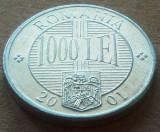 Moneda 1000 LEI - ROMANIA, anul 2001    *cod 4087, Aluminiu
