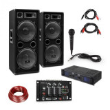 Skytec SPL700EQ, amplificator cu 2 difuzoare, pult de mixaj BT, microfon
