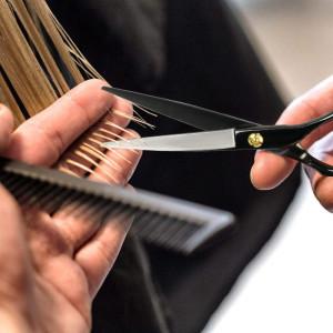 Set foarfece pentru tuns filat negru piepten profesionale geanta frizerie coafor