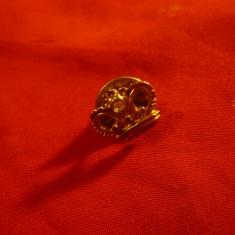 Insigna cu buton - Coroana Regala , metal si email , L=1,3cm