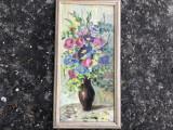 Tablou,pictura in ulei pe lemn,vaza cu flori, Altul